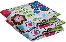 2 PK BACATI Botanical FLORAL Crib Mattress Bed FITTED SHEETS