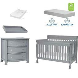 4-in-1 Convertible Crib Set with Dresser Mattress and Changi
