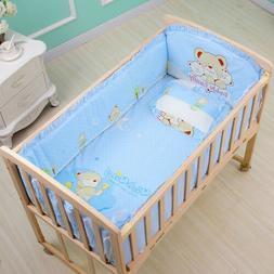 6Pcs 120*65cm Cotton Baby Crib Bedding Sets with Bumper Matt