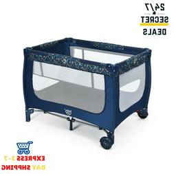 Baby Crib Portable Playpen Infant Mobile Nursery Playard Bed