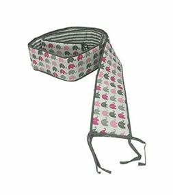 Bacati Elephants Portable Crib Bumper Pad, Pink/Grey