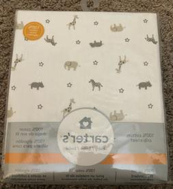 "Carter's Zoo Animals Fitted Cotton Crib Sheet For Std 28""x"