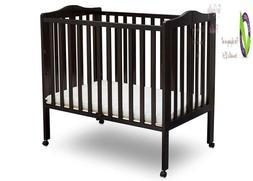 Delta Children Folding Portable Mini Baby Crib With Mattress