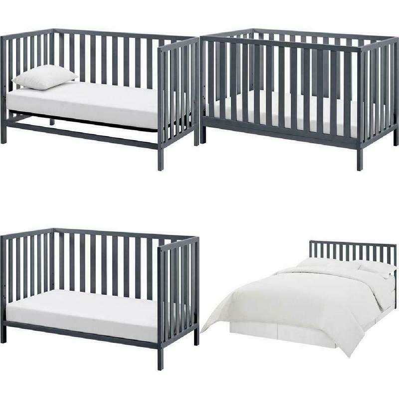 4-in-1 Finish Crib W/ Adjustable Support Unit