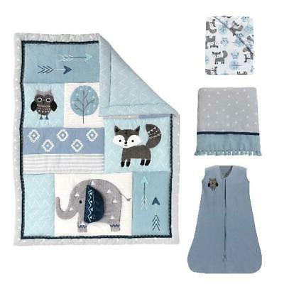 "4-Piece Crib Quilt Comforter 28""x52"" Baby"