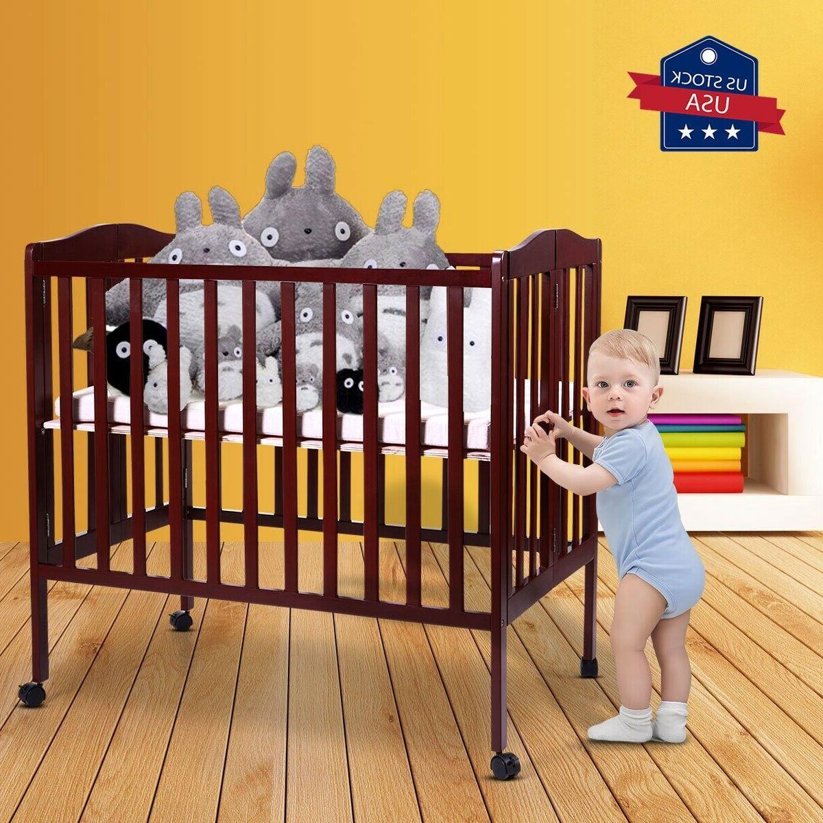 baby nursery crib bed pine wood safety