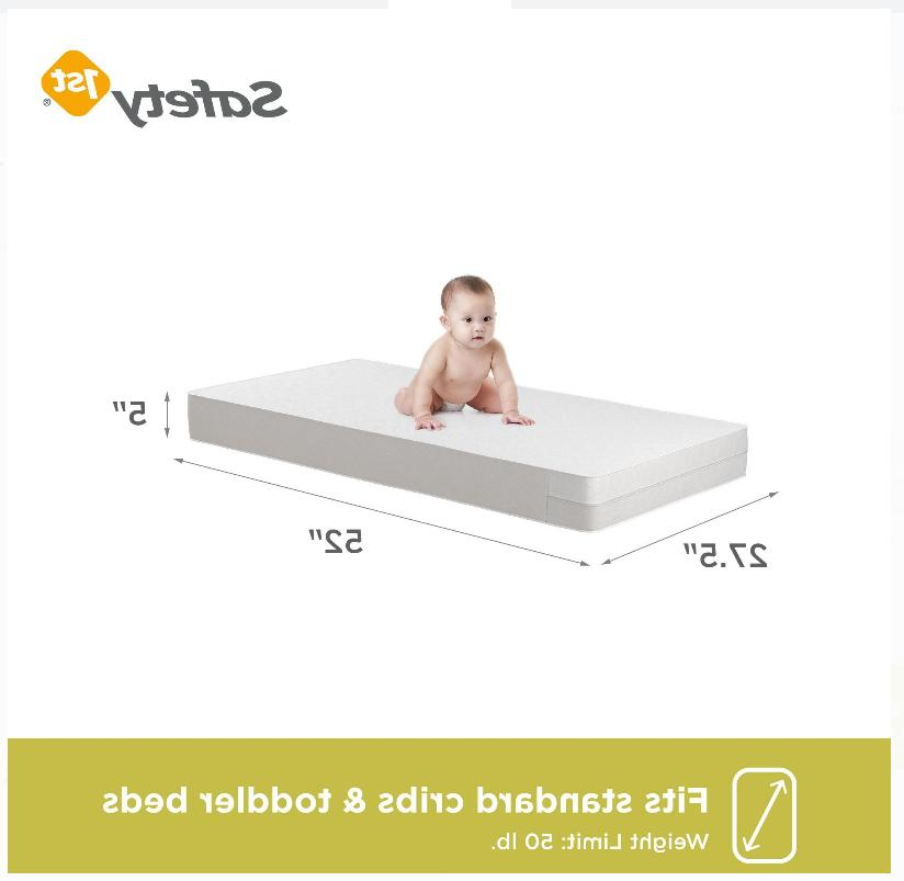 "Safety 1st Sweet 5"" Crib & Toddler Mattress, Core, Whi"