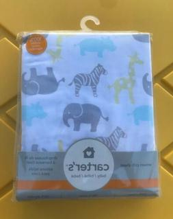 NIP Carter's Zoo Animals Fitted Sateen Crib Sheet For Std Cr