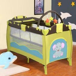 Nursery Playard Bed Mattress Baby Crib Foldable Playpen Infa