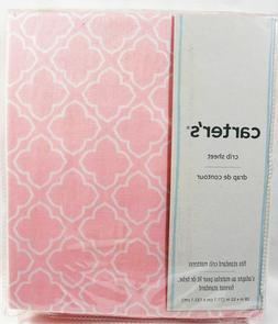 Carter's Sateen Pink/White Trellis Crib Sheet